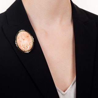 Early 20th Century Coral Cameo Pendant/Brooch