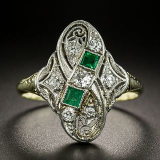Early 20th Century Diamond and Emerald Dinner Ring - 2