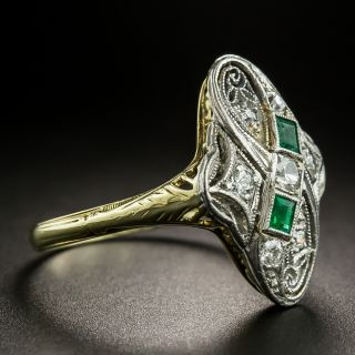 Early 20th Century Diamond and Emerald Dinner Ring
