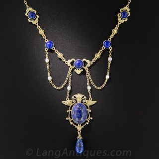 Early 20th Century Egyptian Revival Lapis and Seed Pearl Necklace - 1