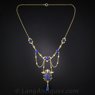 Early 20th Century Egyptian Revival Lapis and Seed Pearl Necklace