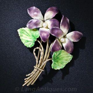 Early 20th Century Enameled Flower Brooch - 1