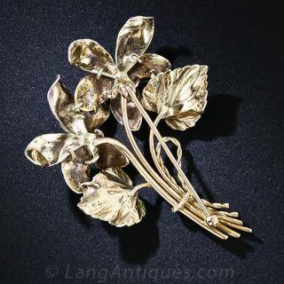 Early 20th Century Enameled Flower Brooch