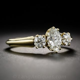 Early 20th Century English Marquise Diamond Three-Stone Engagement Ring