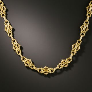 Early to Mid-20th Century Fancy Link Gold Necklace - 2