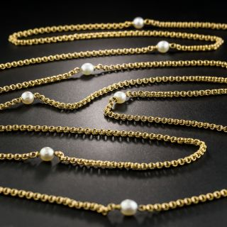 French 66-Inch 18K Chain with Natural Pearls - 2