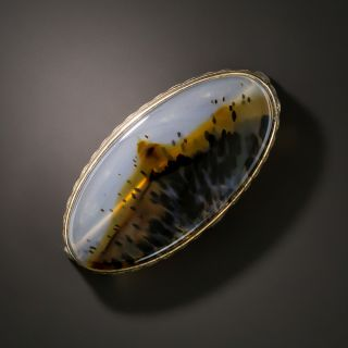 Early 20th Century Montana Agate Brooch - 3