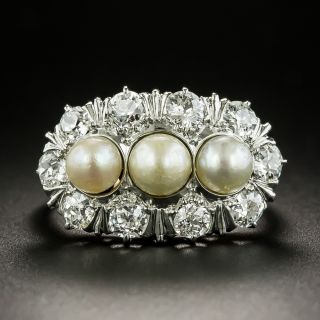 Early 20th Century Natural Pearl and Diamond Ring - 2