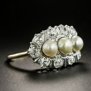 Early 20th Century Natural Pearl and Diamond Ring