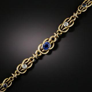 Early 20th Century No Heat Sapphire and Diamond Bracelet - GIA - 2