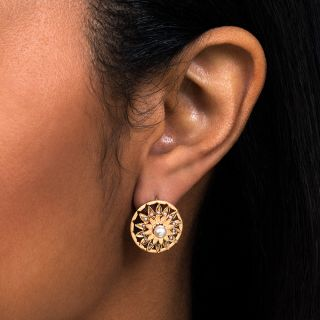 Early 20th Century Pearl Sunflower Earrings