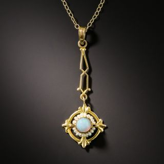 Early 20th Century Petite Opal and Pearl Pendant - 2