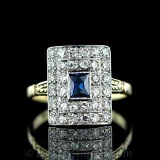 Early 20th Century Sapphire   Diamond Ring Main View