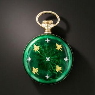 Early 20th Century Sterling Silver Green Guilloché Enamel Pendant Watch - 4