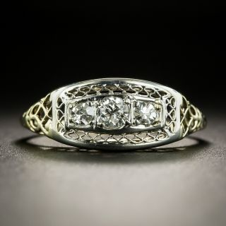 Early 20th Century Three-Stone Diamond Ring - 1