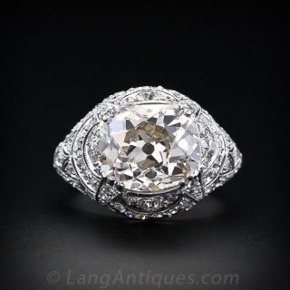 Early Art Deco 4.55 Carat Cushion Cut Diamond Ring, French