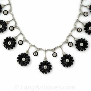 Early Art Deco Diamond and Onyx Flower Necklace - 1