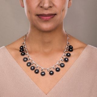 Early Art Deco Diamond and Onyx Flower Necklace