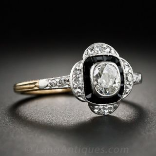 Early Art Deco Diamond and Onyx Ring