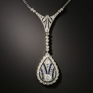 Early-Art Deco Diamond and Sapphire Necklace - 2