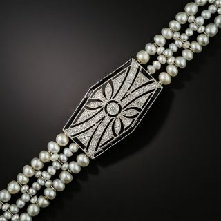 Belle Epoque Diamond, Pearl and Onyx Bracelet