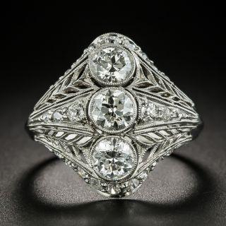 Early Art Deco Three-Stone Diamond Dinner Ring - 2