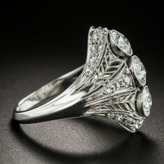 Early Art Deco Three-Stone Diamond Dinner Ring - Size 6