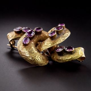 Early-Victorian Amethyst Lovers Knot Brooch