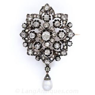 Early Victorian Diamond Brooch/Pendant with Natural Pearl Drop