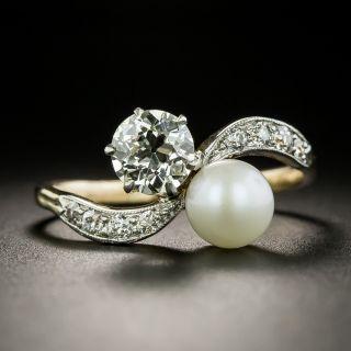 Edwardian 1.05 Carat Diamond and Natural Pearl Moi et Toi  Ring - GIA J VVS2 - 2