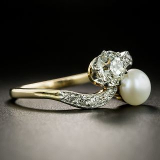 Edwardian 1.05 Carat Diamond and Natural Pearl Moi et Toi  Ring - GIA J VVS2