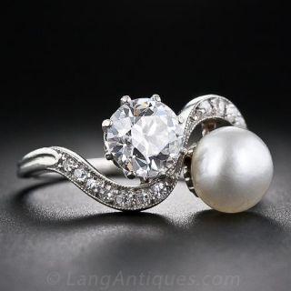 Edwardian 1.08 Carat Diamond And Natural Pearl Twin Ring - GIA F VS2