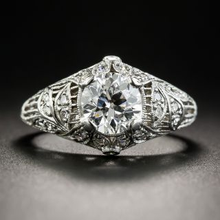 Edwardian 1.11 Carat Diamond Platinum Engagement Ring - GIA D VS2  - 1