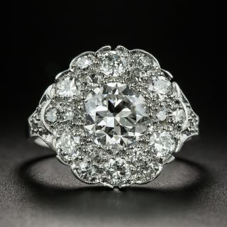 Edwardian 1.22 Carat Center Diamond Cluster Engagement Ring - GIA F SI2 - 2