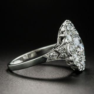 Edwardian 1.22 Carat Center Diamond Cluster Engagement Ring - GIA F SI2