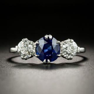 Edwardian 1.26 Carat No-Heat Pailin Sapphire and Diamond Three-Stone Ring - 2