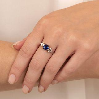 Edwardian 1.26 Carat No-Heat Pailin Sapphire and Diamond Three-Stone Ring