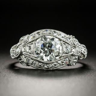 Edwardian 1.32 Carat Diamond in Scroll Ribbon Ring-  GIA I SI1 - 2