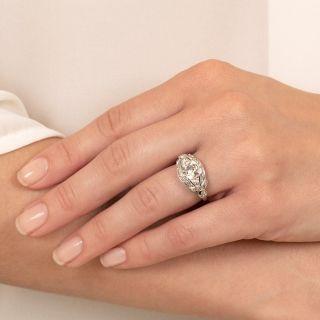 Edwardian 1.32 Carat Diamond Ribbon Engagement Ring -  GIA I SI1