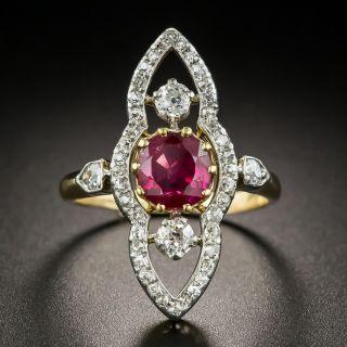 Edwardian 1.40 Ct. Burma No-Heat Ruby Diamond Dinner Ring  - 1