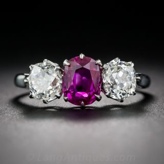 Edwardian 1.50 Carat No-Heat Burmese Ruby and Diamond Ring - AGL - 1
