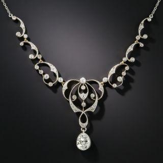Edwardian 1.51 Carat Pear Shape Diamond Necklace - GIA F VVS2 - 1