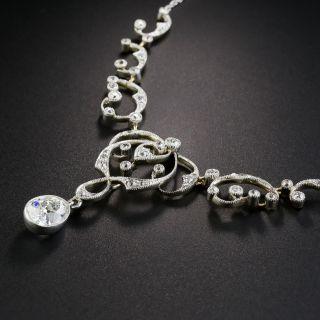 Edwardian 1.51 Carat Pear Shape Diamond Necklace - GIA F VVS2