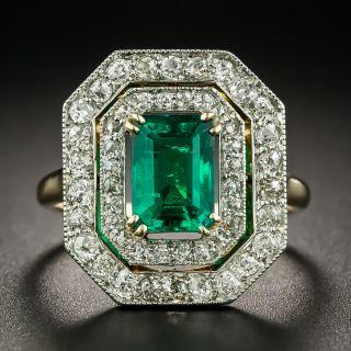 Edwardian 1.54 Carat Emerald and Diamond Ring  - 2
