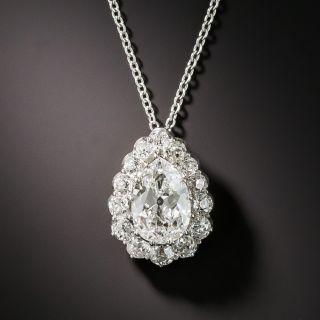 Edwardian 1.60 Carat Pear Shape Diamond Drop - 4