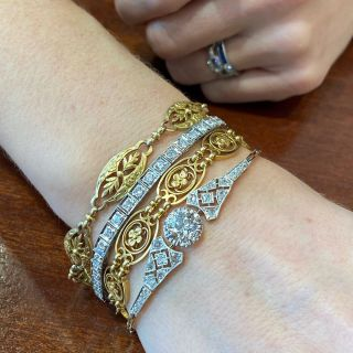 Edwardian 1.67 Carat Cushion Cut Diamond Bracelet - GIA