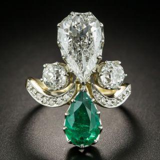 Edwardian 2.02 Carat Pear Shaped Diamond and Emerald Ring - GIA - 2
