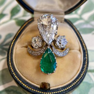 Edwardian Style 2.02 Carat Pear Shaped Diamond and Emerald Ring - GIA G SI1
