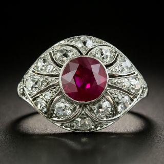 Edwardian 2.16 Carat Burmese Ruby and Diamond Ring - GIA - 2