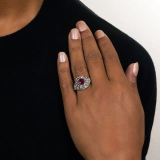 Edwardian 2.16 Carat Burmese Ruby and Diamond Ring - GIA